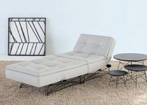 Sillón cama convertible tapizado blanco